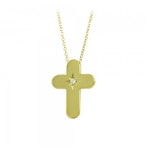 Woman's cross pendant with chain, Yellow gold K14 with diamond Code 008454