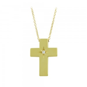 Woman's cross pendant with chain, Yellow gold K14 with diamond Code 008455