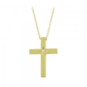 Woman's cross pendant with chain, Yellow gold K14 with diamond Code 008456