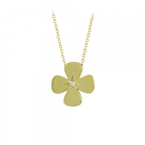 Woman's cross pendant with chain, Yellow gold K14 with diamond Code 008457