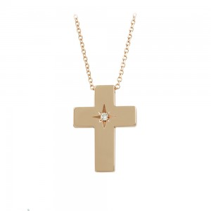 Woman's cross pendant with chain, Pink gold K14 with diamond Code 008458