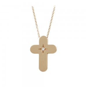 Woman's cross pendant with chain, Pink gold K14 with diamond Code 008459