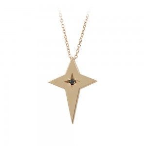 Woman's cross pendant with chain, Pink gold K14 with diamond Code 008460