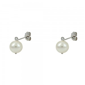 Earrings White gold K14 with diamond and pearl Code 008466
