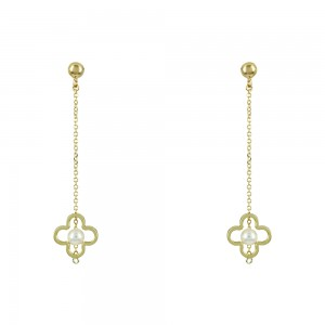 Earrings Yellow gold K14 with pearl Code 008467