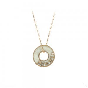 Necklace double side Pink gold K14 with diamond and mother of pearl Code 008472
