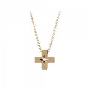 Cross with chain Pink gold K14 with diamond code 008473