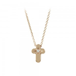 Cross with chain Pink gold K14 with diamond code 008474