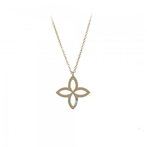 Cross with chain, Pink gold K14 with  diamond Code 008475