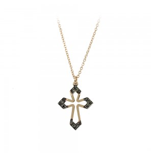 Woman's cross with chain Pink gold Κ14 with Brilliant cut black color diamonds Code 008476
