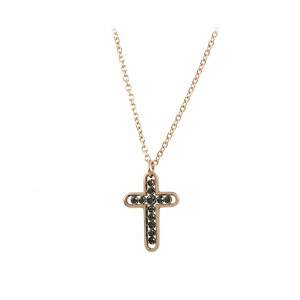Woman's cross with chain, Pink gold Κ14 with Brilliant cut black color diamonds Code 008477