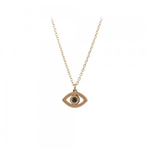 Necklace Pink gold K14 with black color Diamond Code 008478