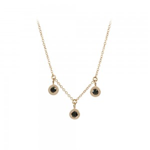 Necklace Pink gold K14 with black color diamonds Code 008479