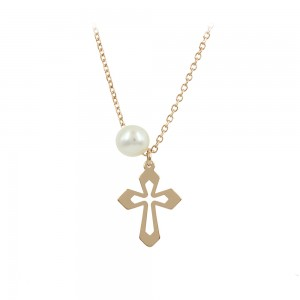 Woman's cross with chain, Pink gold K14 and pearl Code 008480