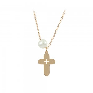 Woman's cross with chain, Pink gold K14 and pearl Code 008481