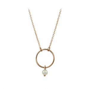 Necklace Cycle Pink gold K14 with pearl Code 008483