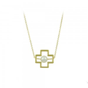 Cross with chain Yellow gold K14 with pearl Code 008484