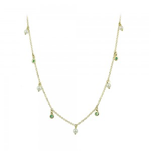 Necklace Yellow gold K14 with Emeralds and pearls Code 008485