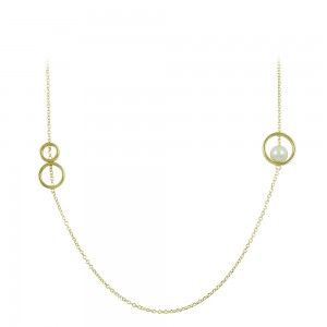 Necklace Cycle shape Yellow gold K14 with pearl Code 008487
