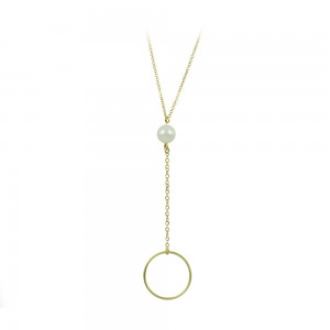 Necklace Cycle shape Yellow gold K14 with pearl Code 008488