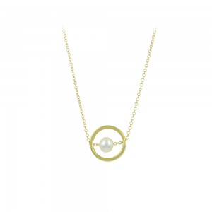 Necklace Cycle shape Yellow gold K14 with pearl Code 008489