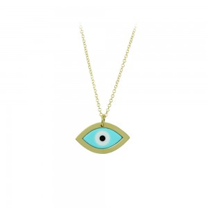 Necklace Eye shape Yellow gold K14 with Corian Code 008490