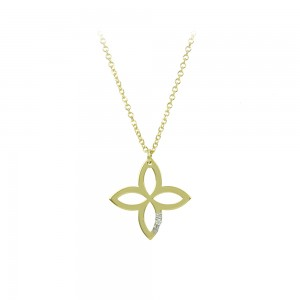 Cross with chain, Yellow gold K14 with diamond Code 008495