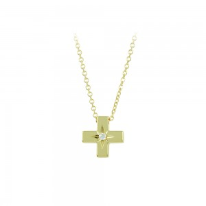 Cross with chain Yellow gold K14 with diamond code 008496