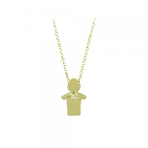 Necklace Boy shape Yellow gold K14 with diamond Code 008497