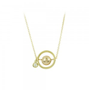 Necklace Cycle shape Yellow gold K14 with diamond Code 008500