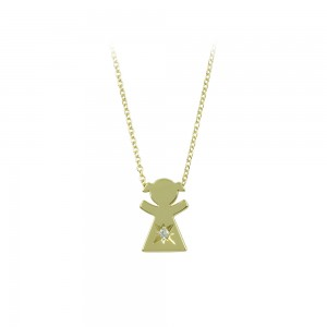 Necklace Girl shape Yellow gold K14 with diamond Code 008501