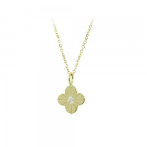 Cross with chain Yellow gold K14 with diamond code 008503