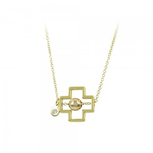 Cross with chain Yellow gold K14 with diamond Code 008505