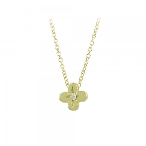 Cross with chain Yellow gold K14 with diamond code 008506