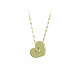 Necklace heart shape Yellow gold K14 with diamond Code 008507