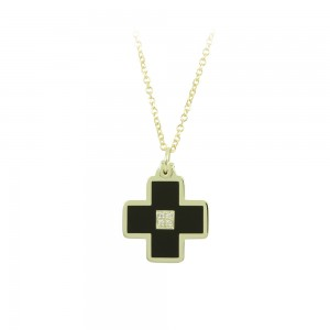 Cross with chain Yellow gold K14 with diamonds and ceramic Code 008508