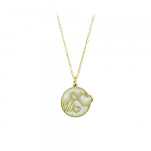 Necklace Hearts Yellow gold K14 with mother of pearl and diamonds Code 008510