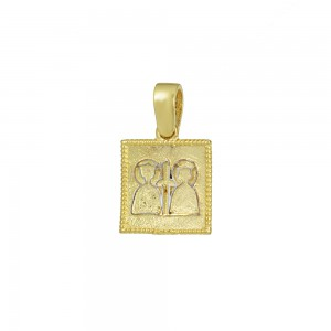 Christian pendant Yellow and white gold K14 Code 008587