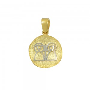 Christian pendant Yellow and white gold K14 Code 008588