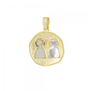 Christian pendant Yellow and white gold K14 Code 008589