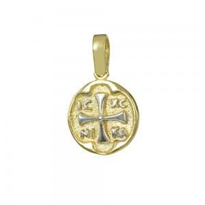 Christian pendant Yellow and white gold K14 Code 008592