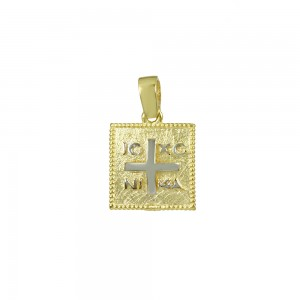 Christian pendant Yellow and white gold K14 Code 008593