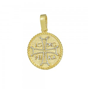 Christian pendant Yellow and white gold K14 Code 008594