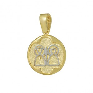 Christian pendant Yellow and white gold K14 Code 008597