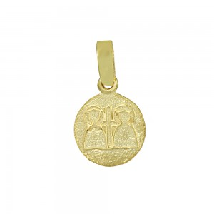 Christian pendant Yellow gold K14 with semiprecious crystal Code 008601