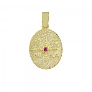 Christian pendant Yellow gold K14 with semiprecious crystal Code 008602