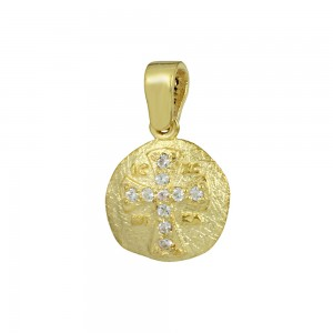 Christian pendant Yellow gold K14 with semiprecious crystals Code 008603