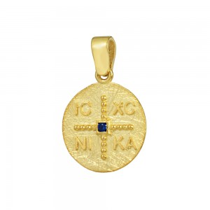 Christian pendant Yellow gold K14 with semiprecious crystal Code 008605