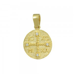 Christian pendant Yellow gold K14 with semiprecious crystals Code 008606