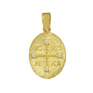 Christian pendant Yellow gold K14 with semiprecious crystals Code 008607